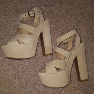 Nude Chunky strappy heels